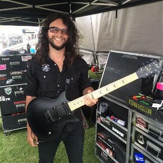 Ben Savage of Whitechapel with his custom ESP at Mayhem Fest 2015