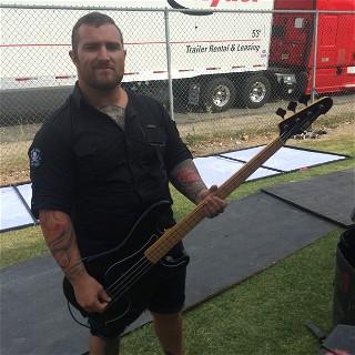 Gabe Crisp with his signature LTD GC-4 Bass at Mayhem Fest 2015