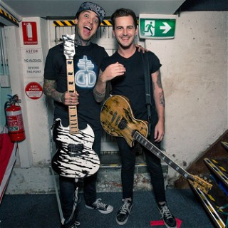 Tony Perry (Pierce The Veil) and Kameron Bradbury (Beartooth) with their ESP Custom guitars