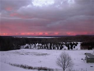 Nancy Sorenson Winter Sunset Overlooking Lk Mich Platte Lk Beulah