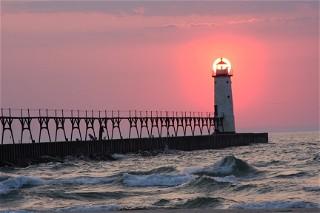 Sonja Potts Manistee Lighthouse At Sunset