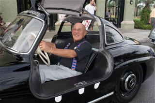 Sir Stirling Moss driving in a Group Therapy Rallye Team road rally