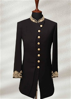 Black Wedding Shervani For Men With Gold Embroidery 1
